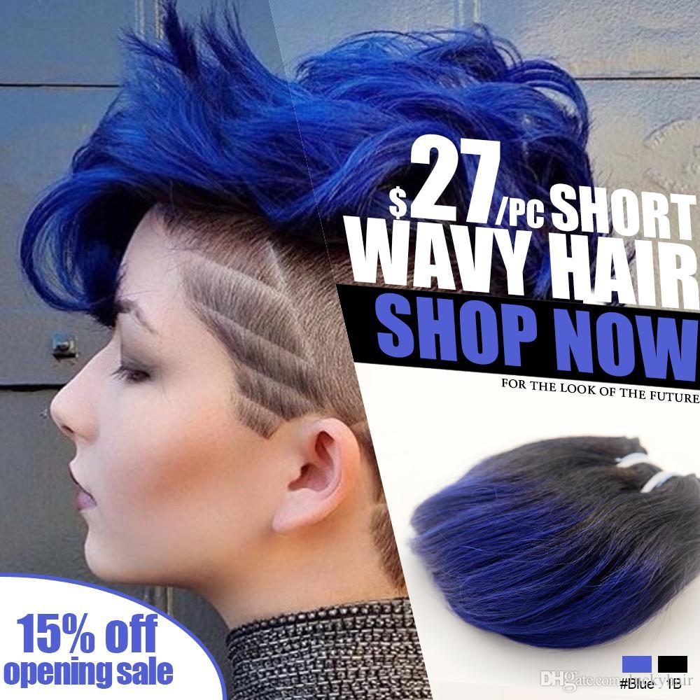 short wavy weave ombre 1b blue marron human hair weaving 100 human hair thick human hair. Black Bedroom Furniture Sets. Home Design Ideas