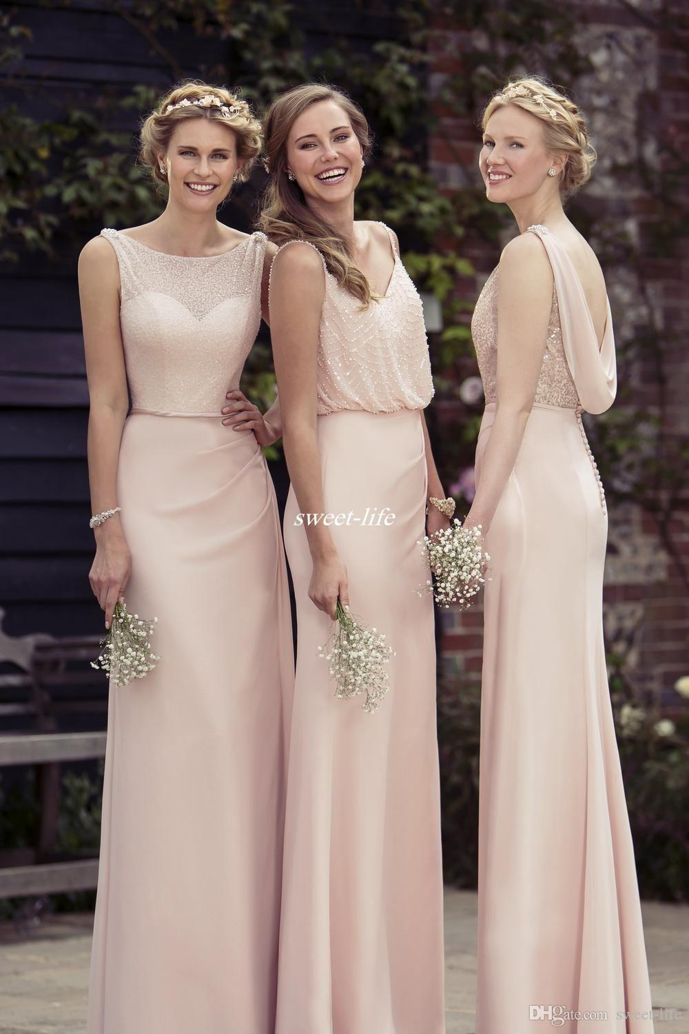 Mismatched Pink Long Bridesmaid Dresses Sheath Backless ...