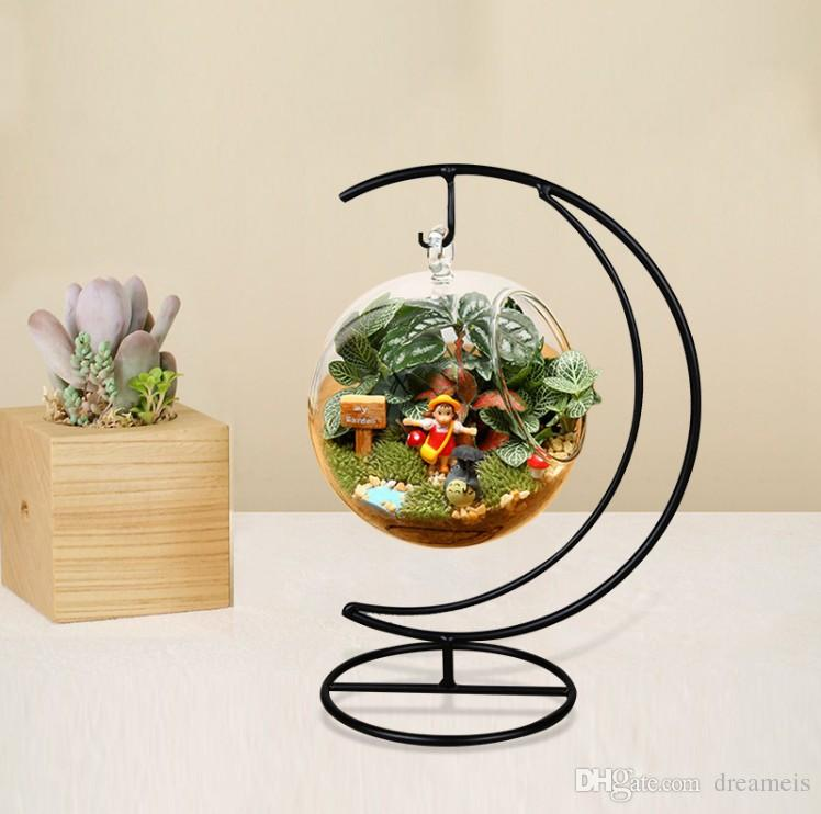12cm moon hook glass hanging planter terrarium container vase pot home garden decoration. Black Bedroom Furniture Sets. Home Design Ideas