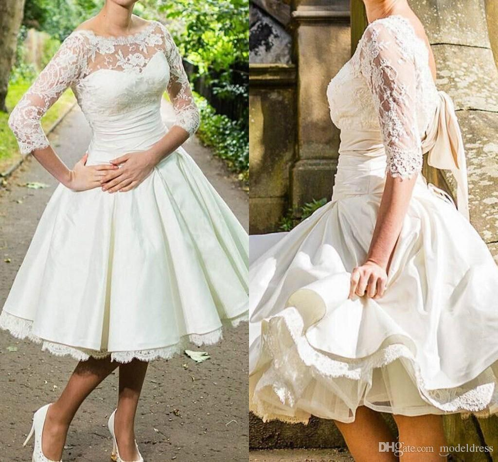 Vintage Short Beach Wedding Dresses 2016 Bateau 3 4 Long