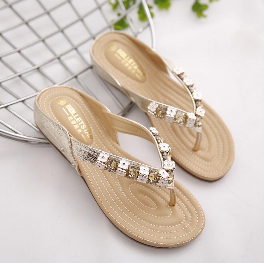 designer flip flops 4qko  European America Designer Luxury Women Sandals Gold Silver Beaded Flip Flops  Bohemia Gladiator Sandals Women Flat