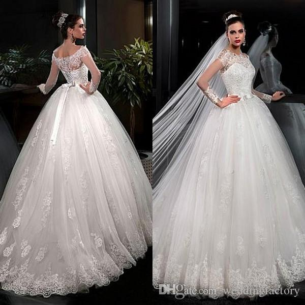 Princess Long Sleeve Ball Gown Wedding Dress 2017 Sheer Lace Appliques Bateau Neckline Big