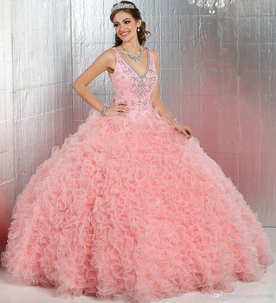Puffy Pink Quinceanera Dresses 2017 New Arrive V Neck ...