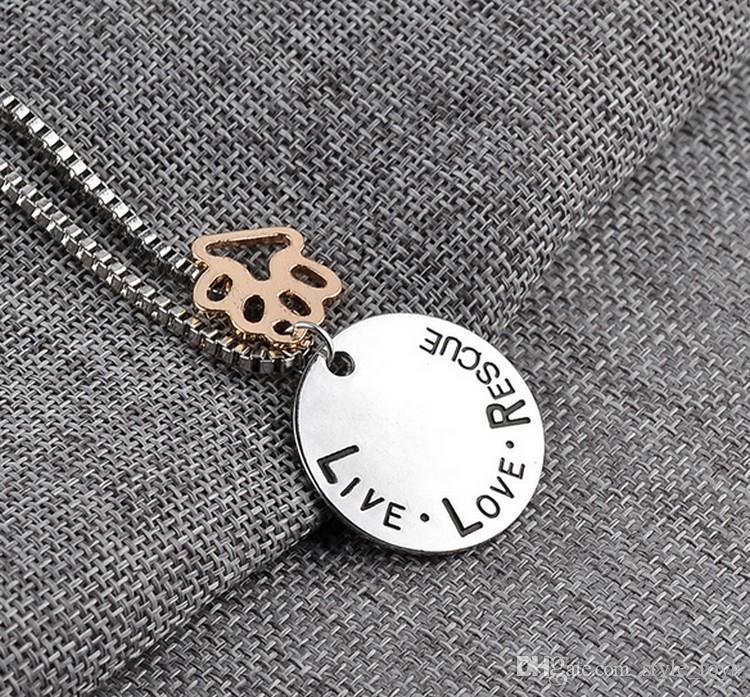 "Hot Pet Lover Dog ""amour en direct adopte"" Pet Rescue Paw Print Tag Jewelry Suns"