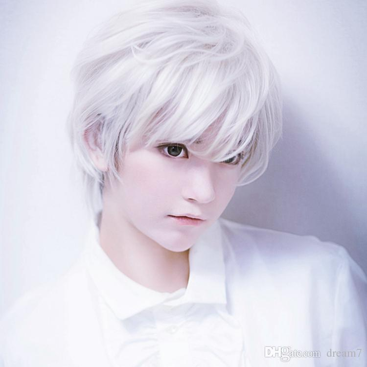 White Anime Boy Wig 72