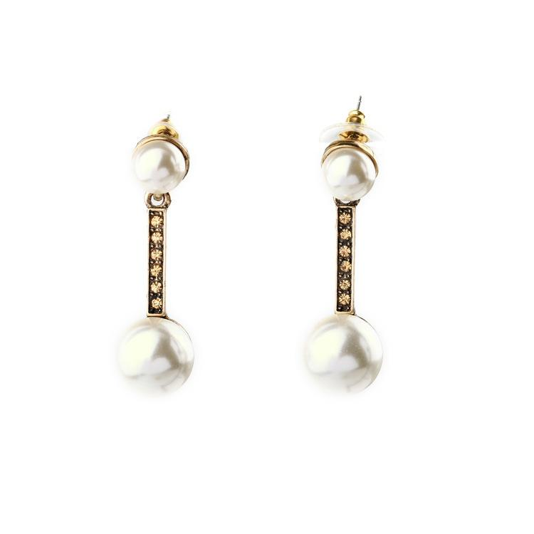 2016 Pave Stick And Pearl Bubble Chandelier Earrings Topaz Crystal ...