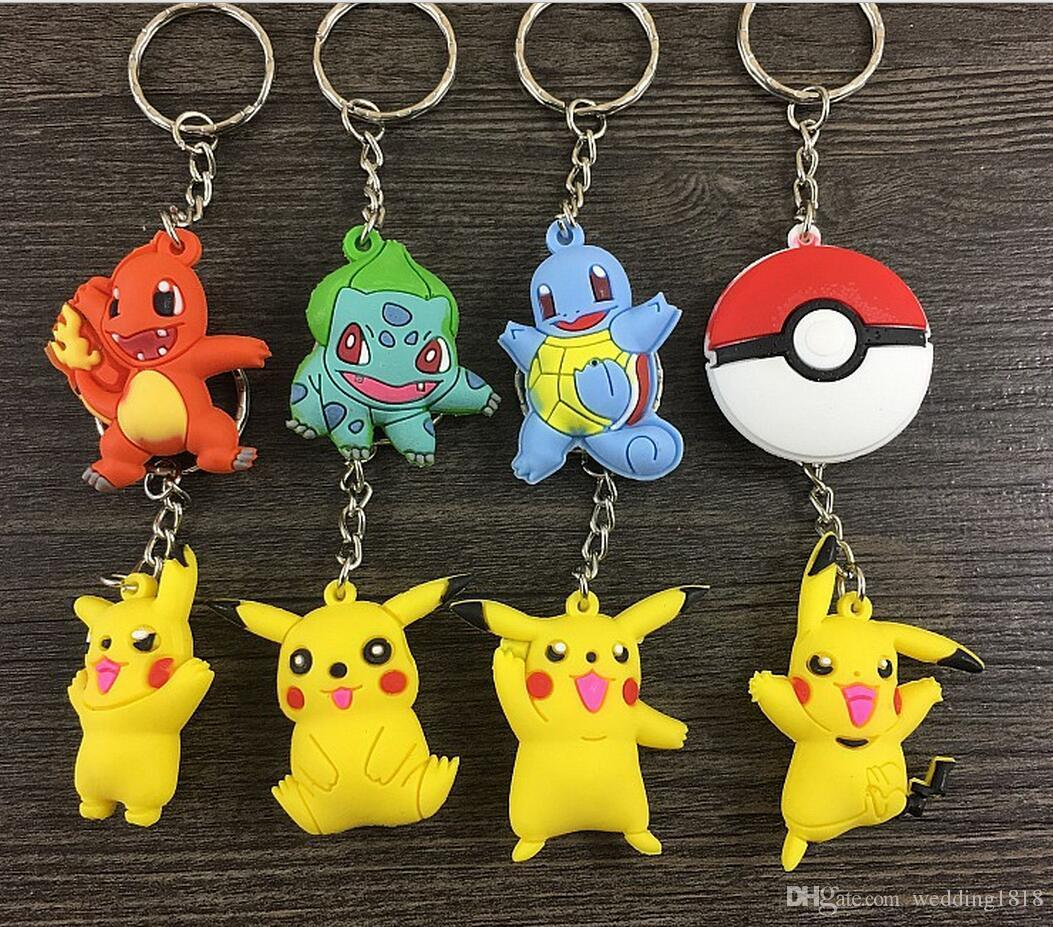 3D Pocket Monster Pikachu Keychains Cute Cartoon Flexible Glue Pendant Car Key C