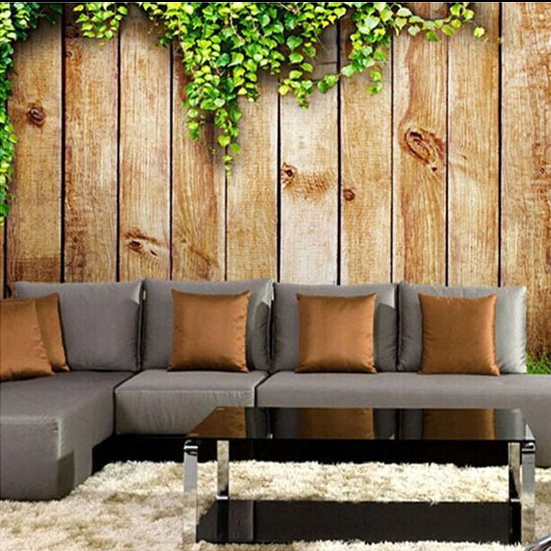 3d vintage wood board photo wallpaper murals for walls tv for Papel pared comedor