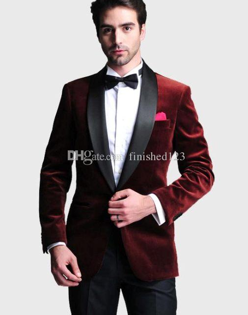 Handsome One Button Dark Red Velvet Groom Tuxedos Shawl Lapel ...
