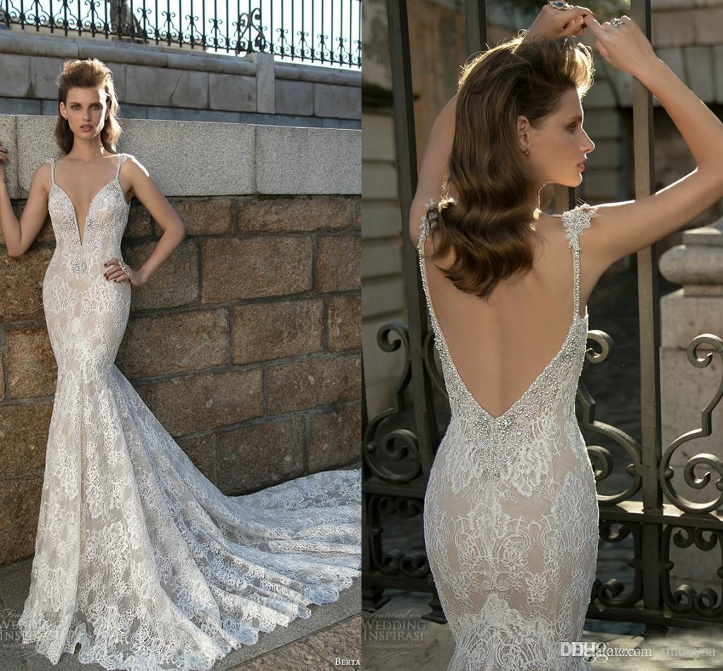 Bling Beading Mermaid Lace Wedding Gowns Fall 2016 Berta