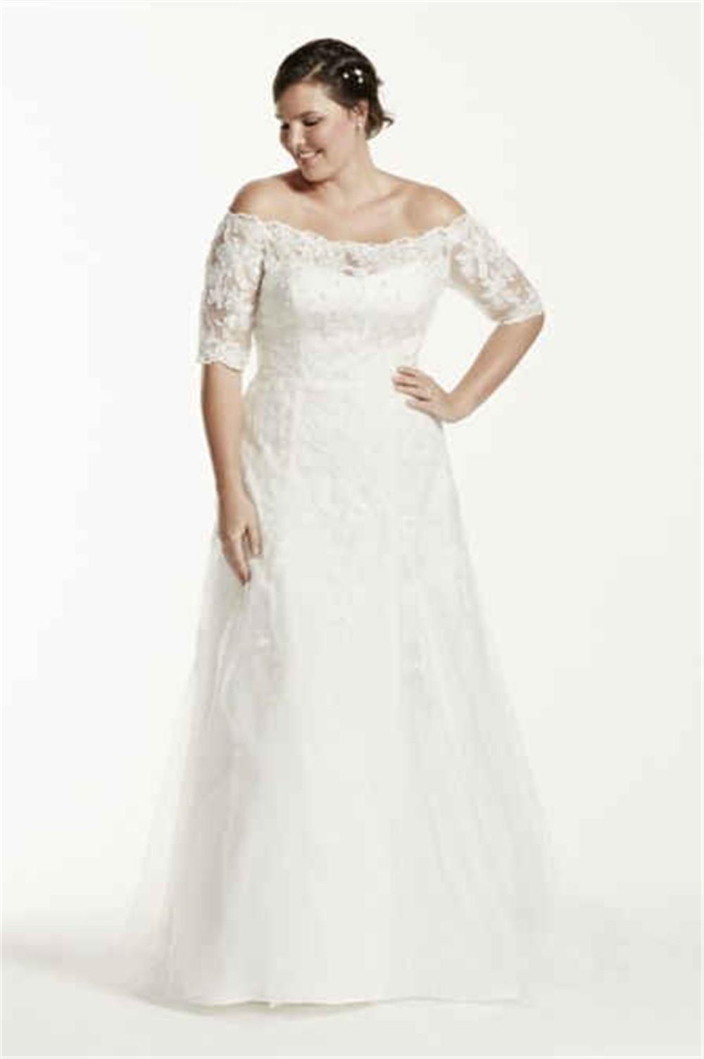 Off the shoulder 1 2 sleeve trumpet plus size wedding for Plus size trumpet wedding dress with sleeves