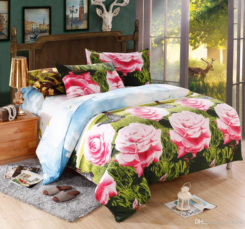 Картинки по запросу A printed bedspread bedroom Decorating Tricks for Your Bedroom 2016 3d luxury bed linen rose print bedspread