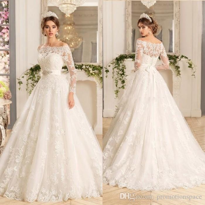 Vestido De Noiva Manga Longa Three Quarter Sleeves A Line Wedding ...