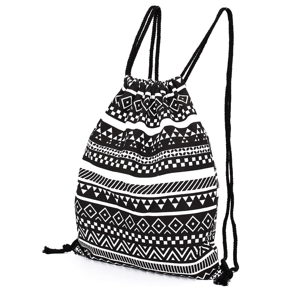 National Women Canvas Drawstring Backpack Newest Vintage College ...