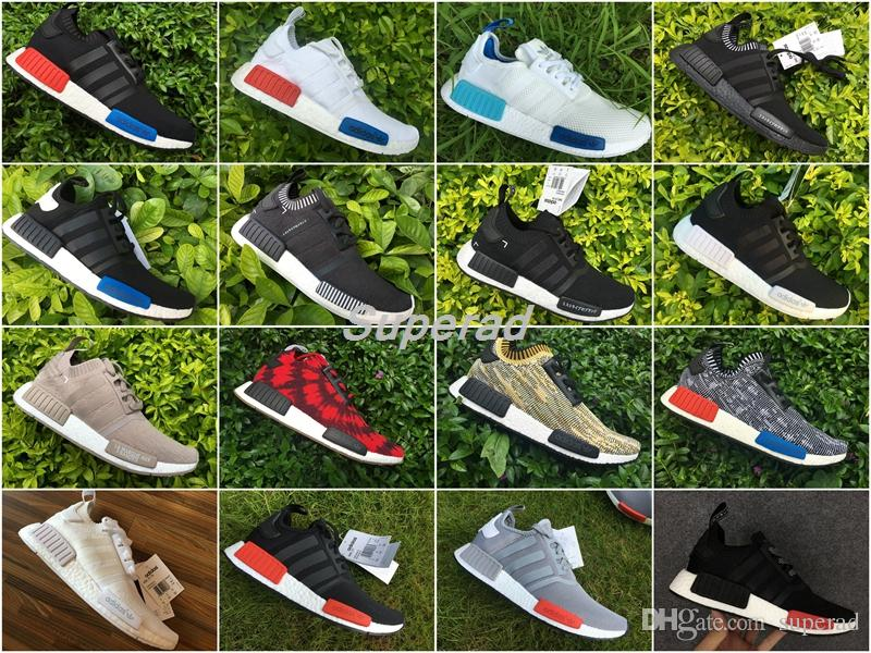 3d832ae57 Adidas Nmd Runner R1 Primeknit Triple Black Og White French Beige Japan  Grey Men Women Running Shoes Nmd Boost Shoes With Original Box Shoes For  Sale Trail ...