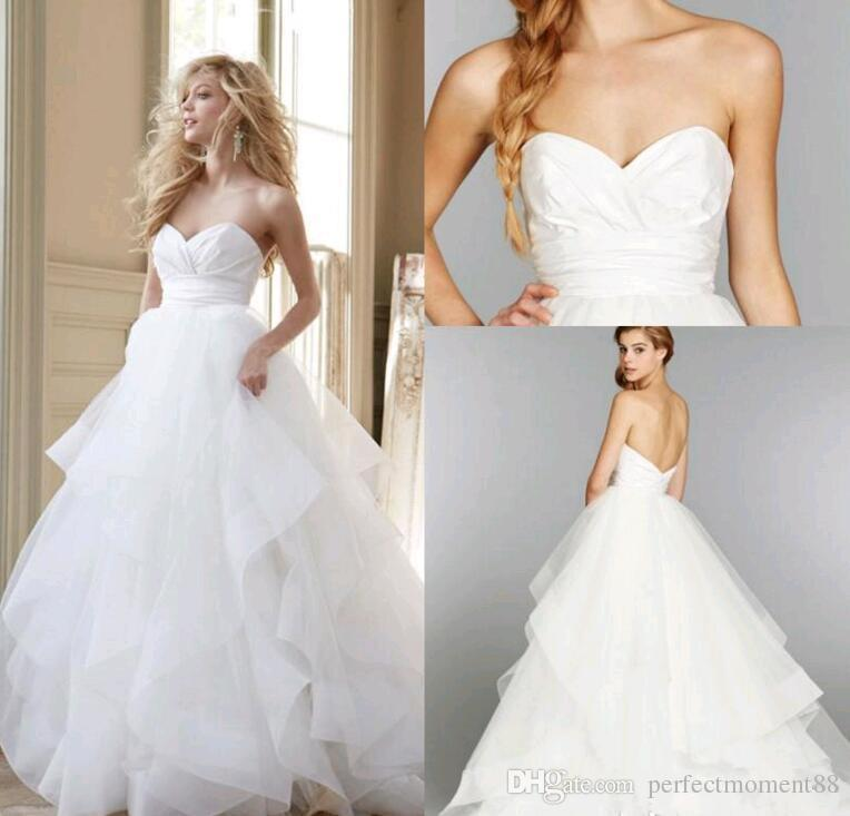 Hayley Paige New A Line Wedding Dresses 2017 Cheap Spring Sexy Strapless Backless Organza Tiered