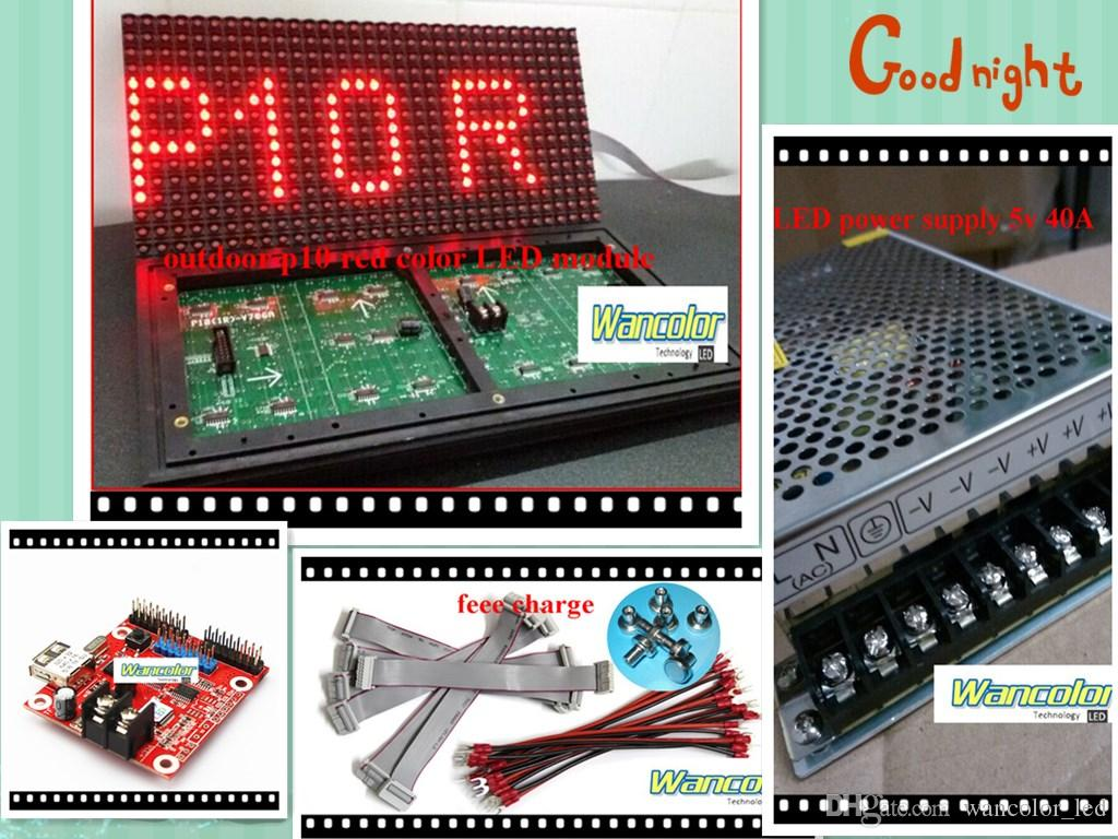 diy led text display electronic kits with p10 outdoor red led module led controller power supply. Black Bedroom Furniture Sets. Home Design Ideas
