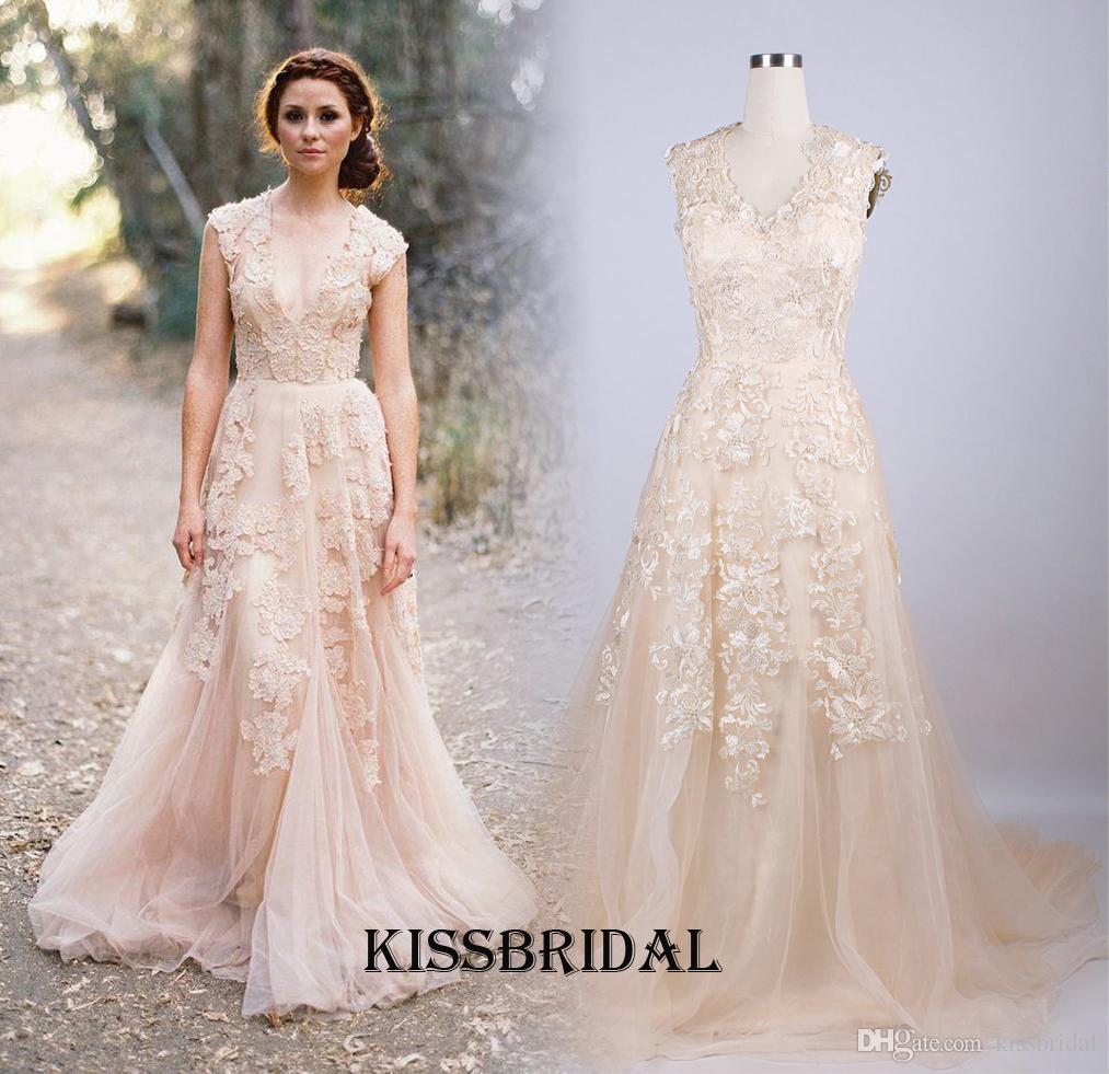 Vintage 2016 champagne wedding dresses custom made plus for Plus size champagne wedding dresses