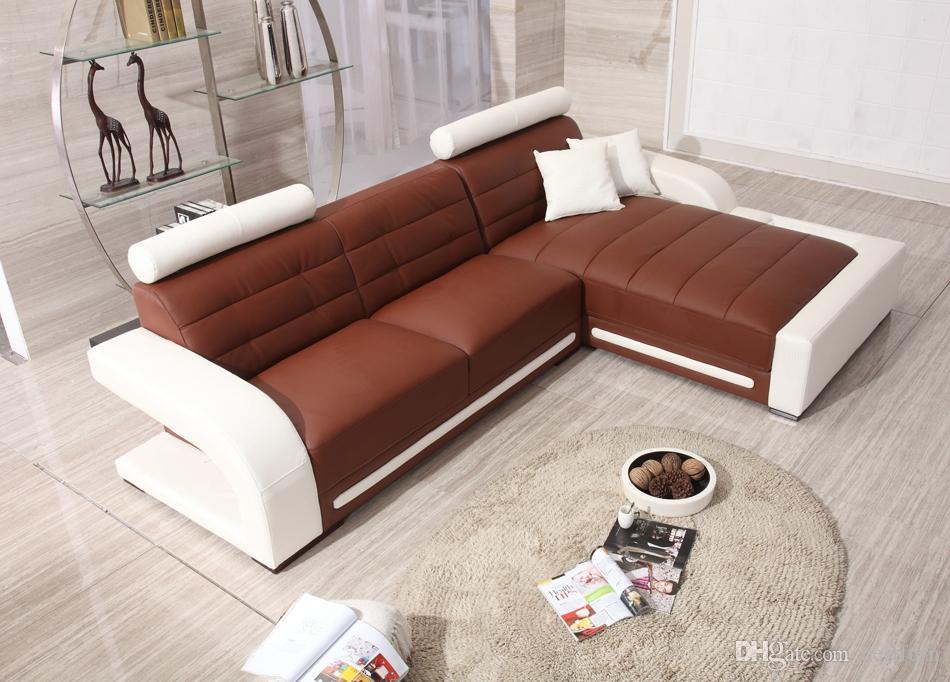 2017 European Sofa Design Top Grain Leather L Shaped