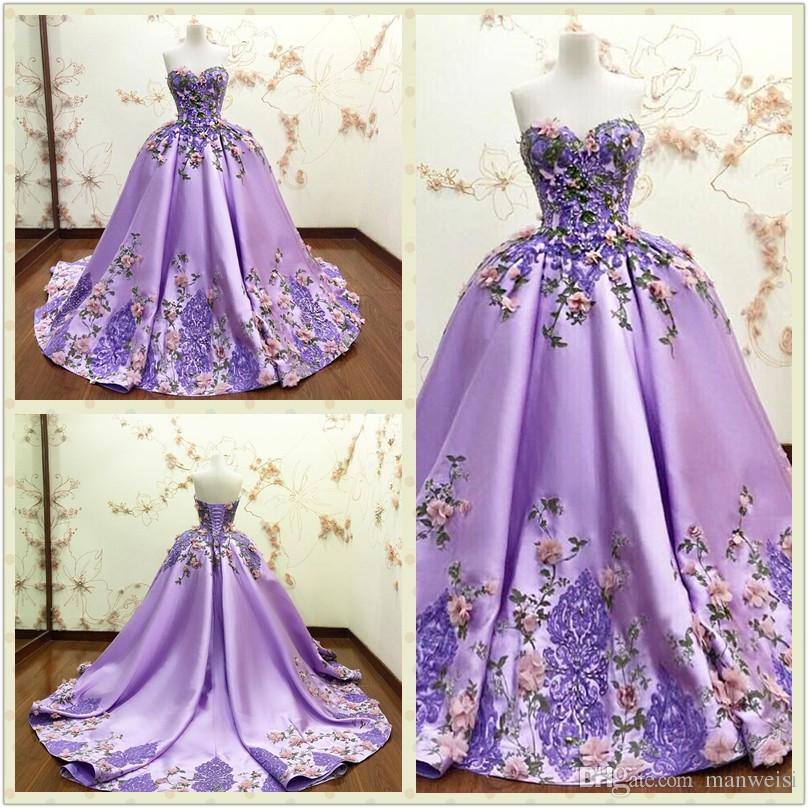 Luxury Purple Ball Gown Evening Dresses 3d Floral Appliques Flower Lace Formal Prom Gowns