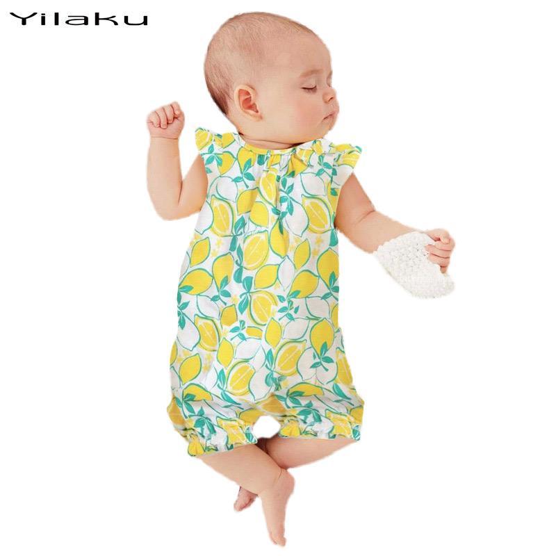 2017 Baby Girl Summer Sleeveless Rompers Baby Girls Lemon