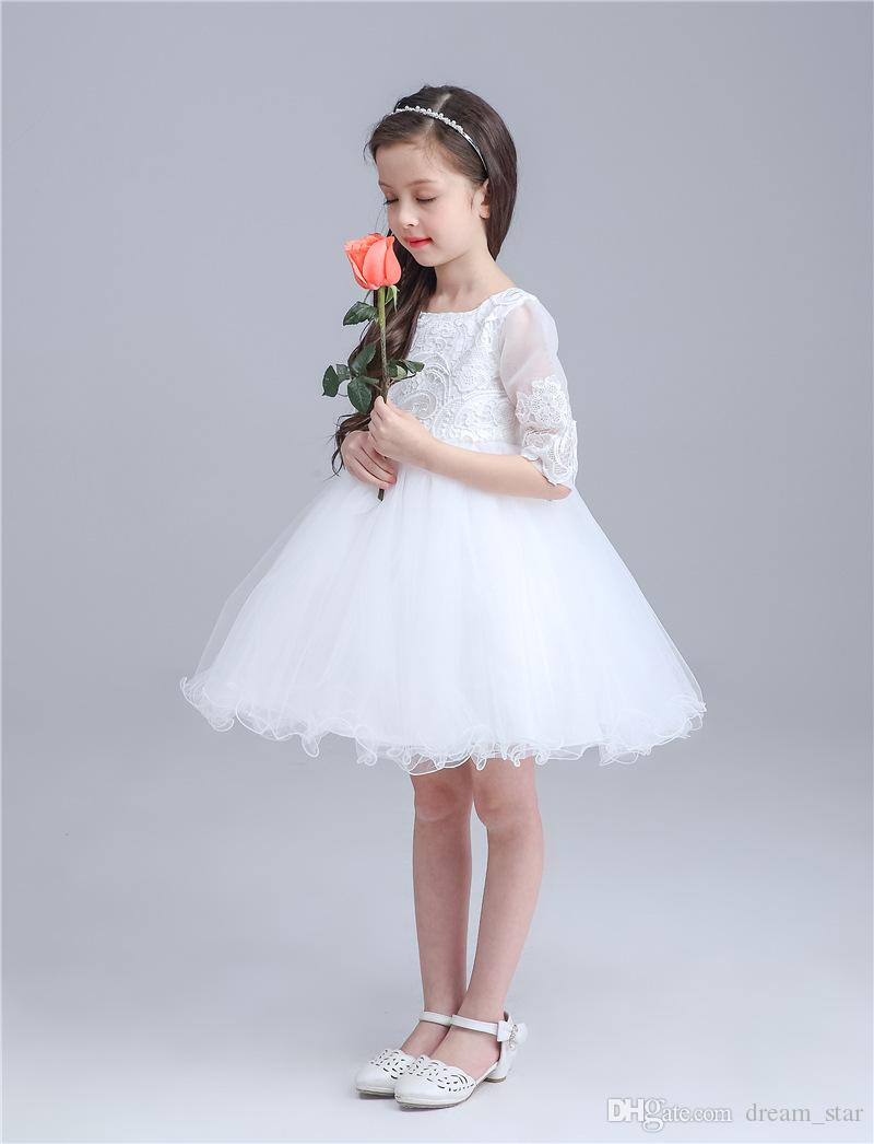 Cute white dresses beach wedding dresses flower girls for Wedding dresses for young girls