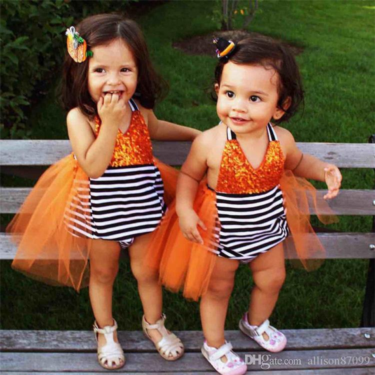 cute baby girl jumpsuit orange halloween costume sequin strap tulle tail tutu skirt striped backless romper baby girl clothe new baby girl halloween