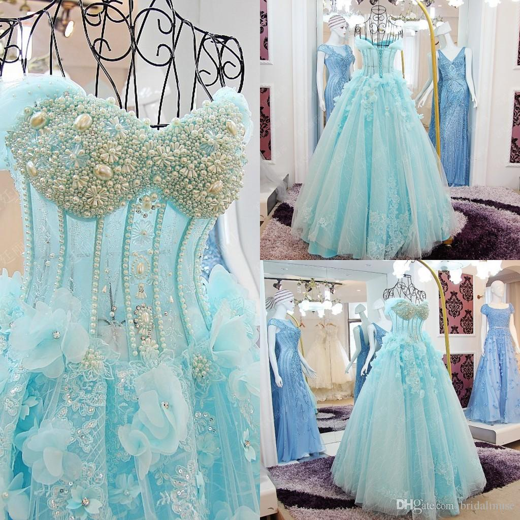 2016 Turquoise Wedding Dresses Shoulder Beaded Princess Plus Size Sweetheart Tulle Gowns Custom Made Line Floor Length
