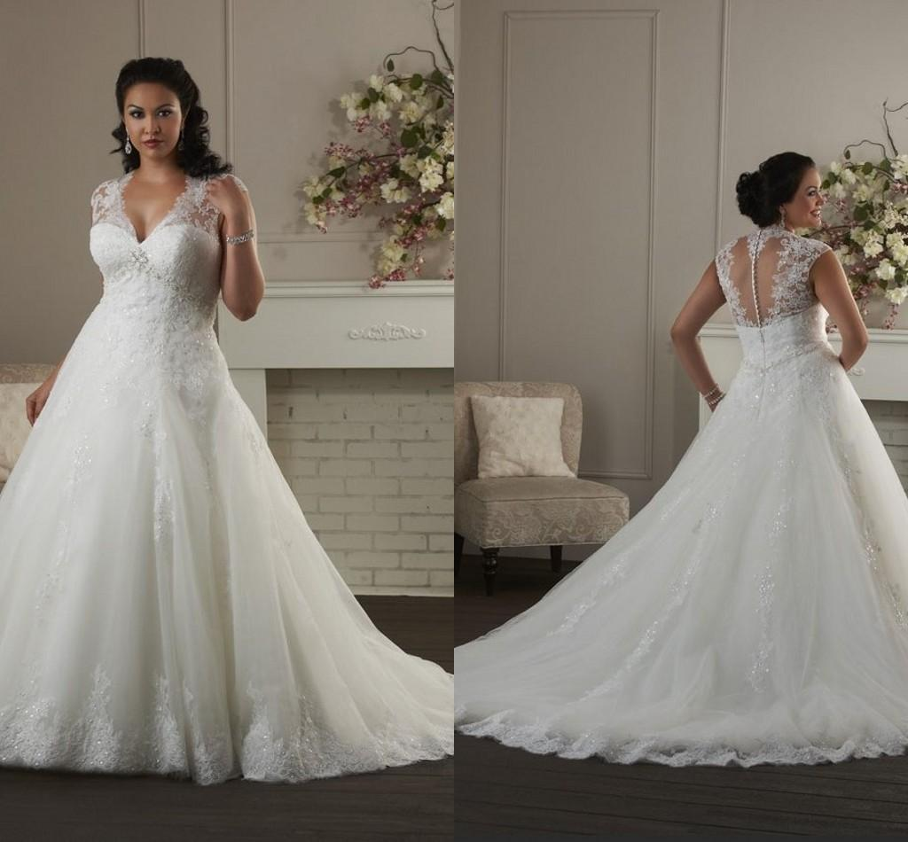 Elegant Plus Size Wedding Brides Dresses y Deep V Neck