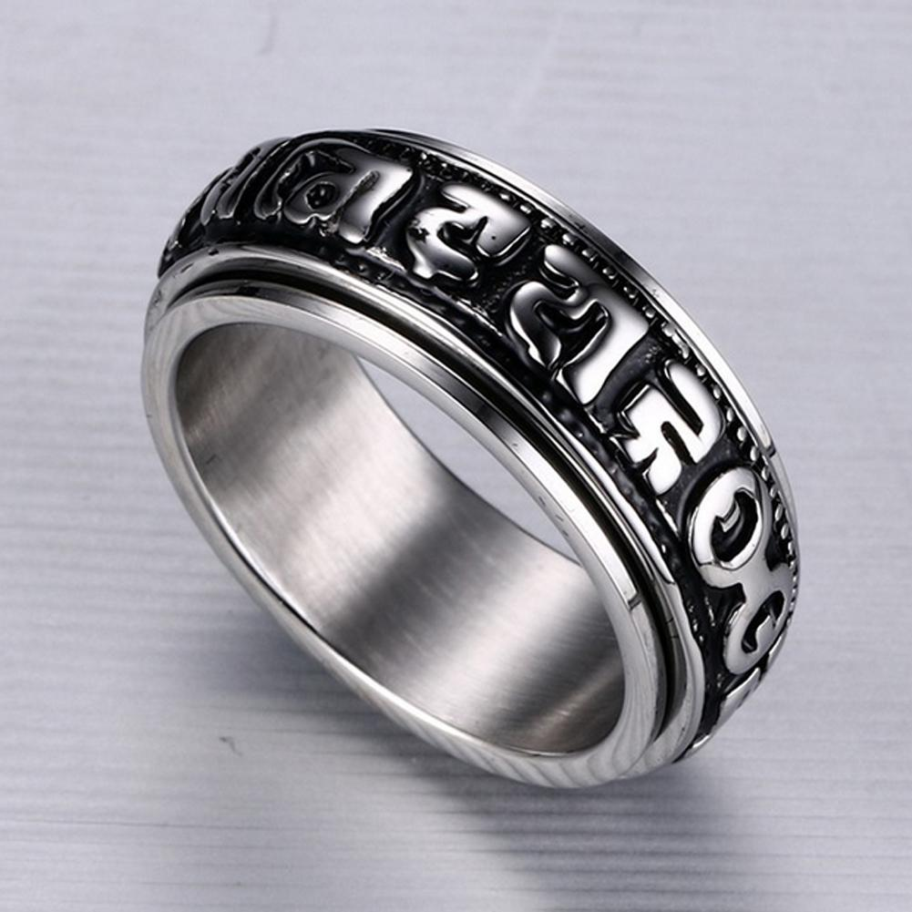 Manufacturers Oem Fashion Jewelry Hypoallergenic Punk Style Titanium Steel  Om Mani Padme Hum Ring For Men Vintage Finger Rings Engagement Ring  Settings