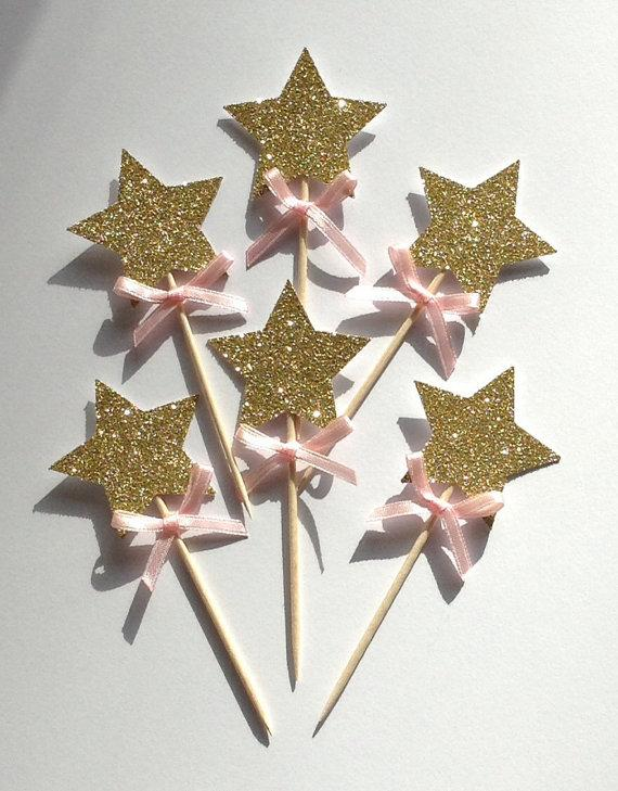 Glitter Gold Star With Pink Bow, Gold Star 1st Birthday ...