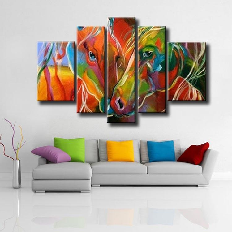 2017 5 panel framed hand painted abstract colourful zebra for Agung decoration