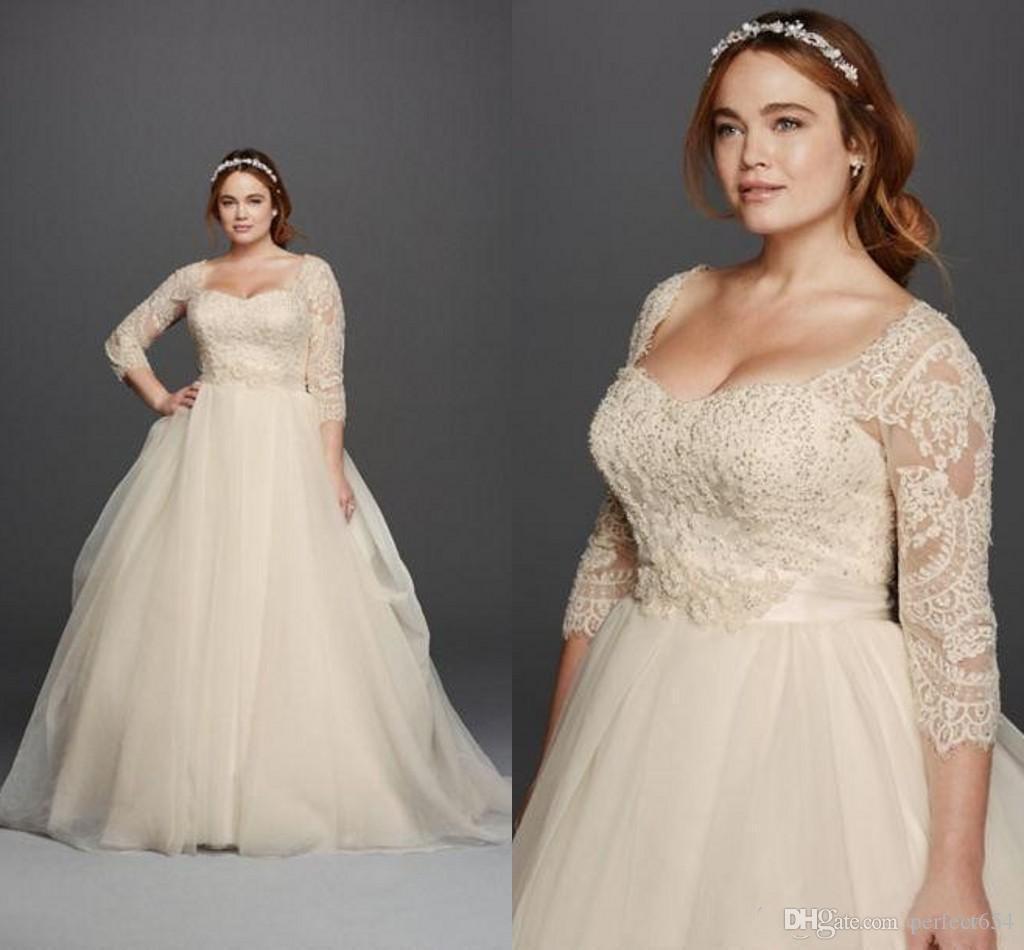 Discount plus size wedding dresses 2017 3 4 long sleeves for Plus size wedding dresses on sale