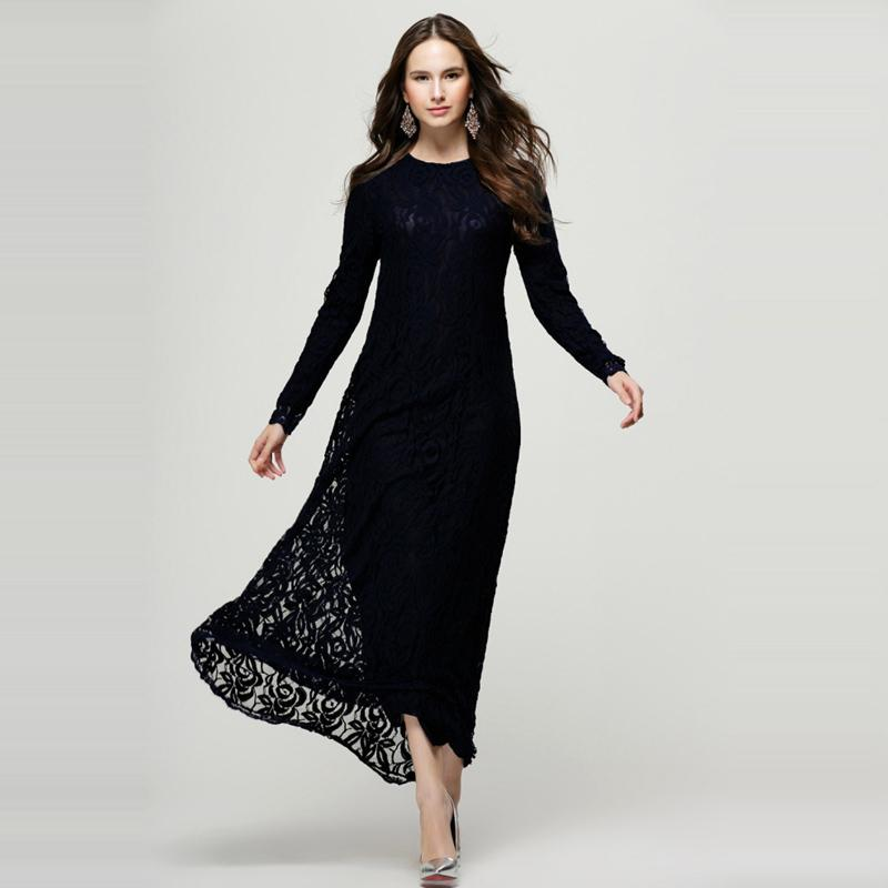 Women's Vintage Black Loose Maxi Lace Elegant Long Dresses For ...