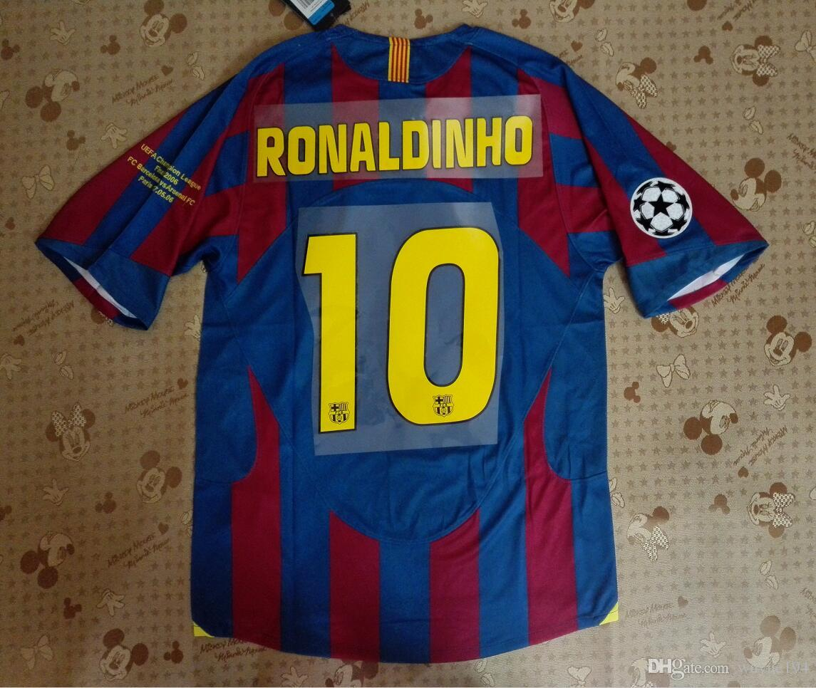 shirt 2006 UCL barcalona finale maillots maillots maison vue jersey Retor classi