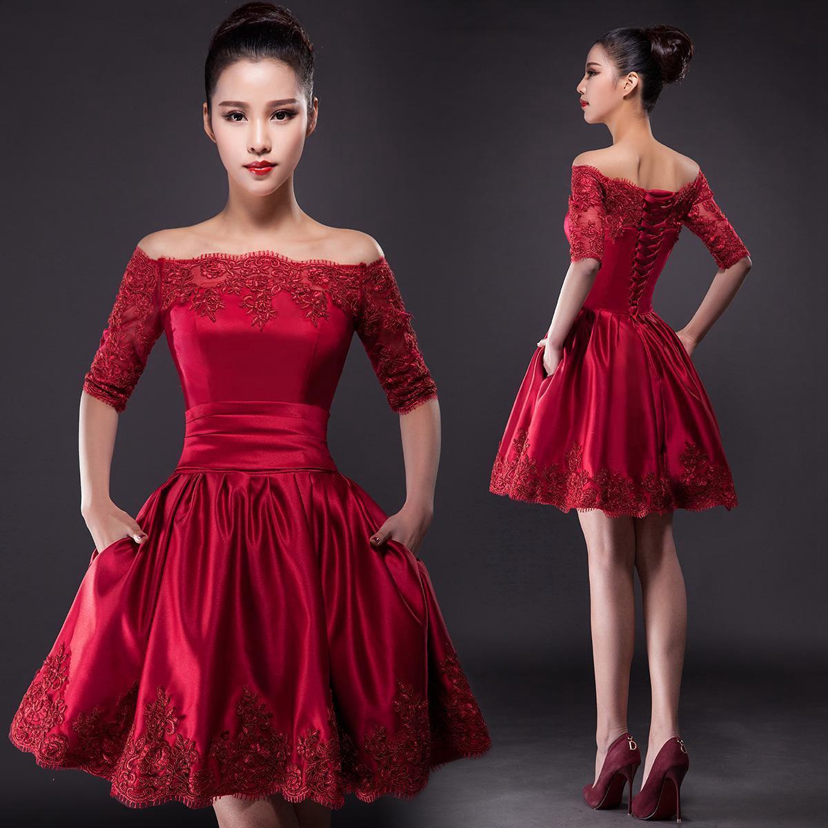Короткие бордовые платья 84