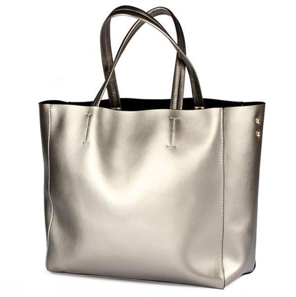 Handbags Women Big Bags Genuine Leather Oversized Tote Bag Silver ...