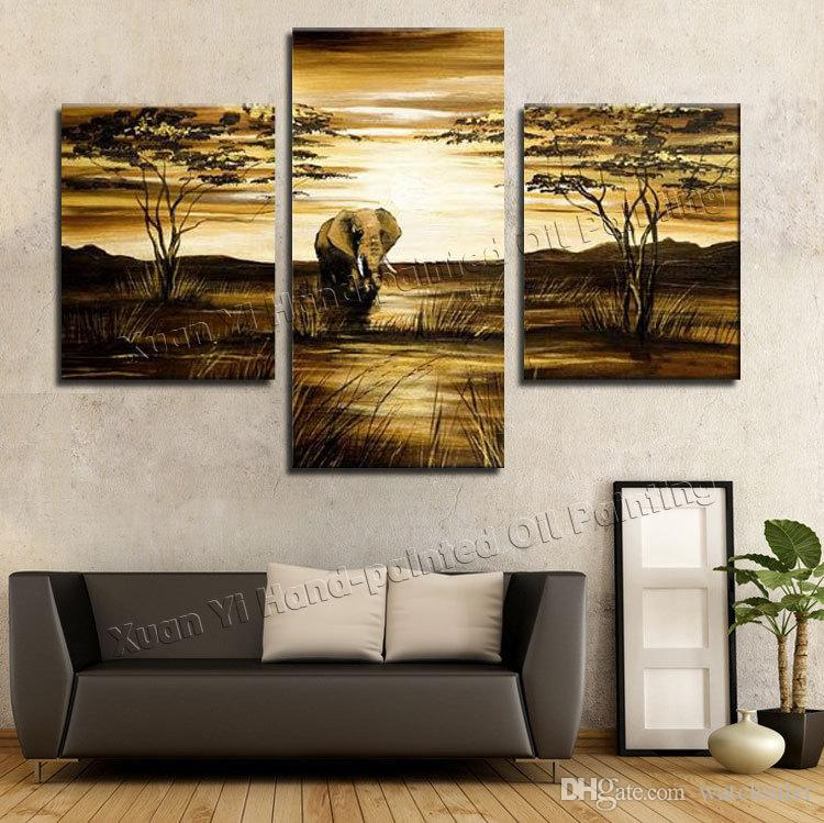 Best Wall Art Grassland African Elephants Animals Sunrise