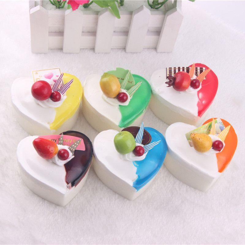 Colourful Fruit Cake: Colorful Squishy Cake Fridge Magnets Heart Fruit Pudding