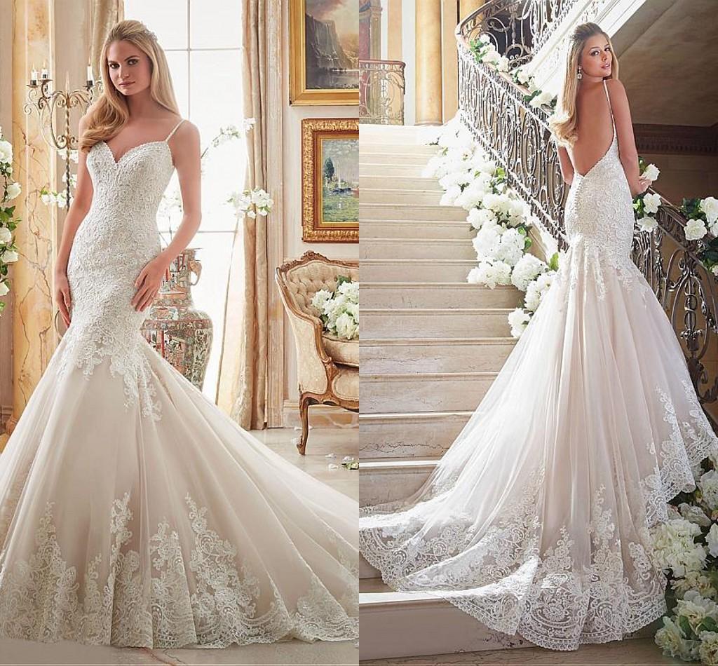 Gorgeous Backless Mermaid Wedding Dresses 2016 Delicate