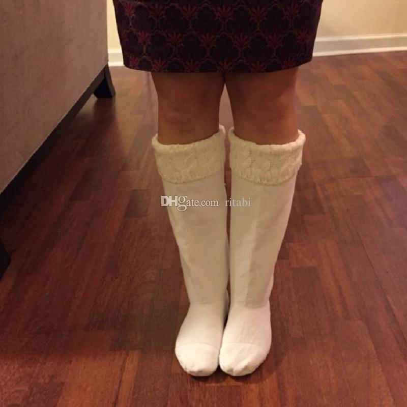 Free Knitting Pattern For Welly Socks : 2017 New High Knitted Chunky Cable Cuff Fleece Welly Socks ...