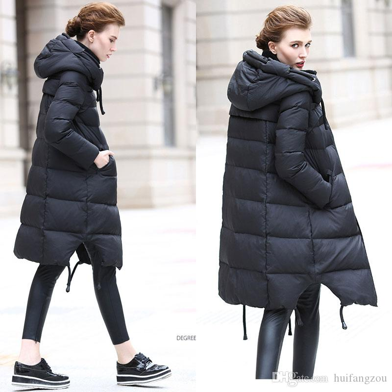 2017 Slim Fit Women Long Down Coat White Duck Down Warm Winter