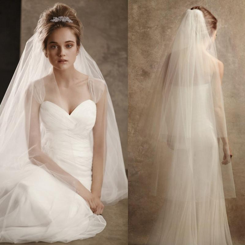 Cheap Bridal Veils With Combs Ivory White Cut Edge Double Layer Bridal Veils 2016 Covered Face
