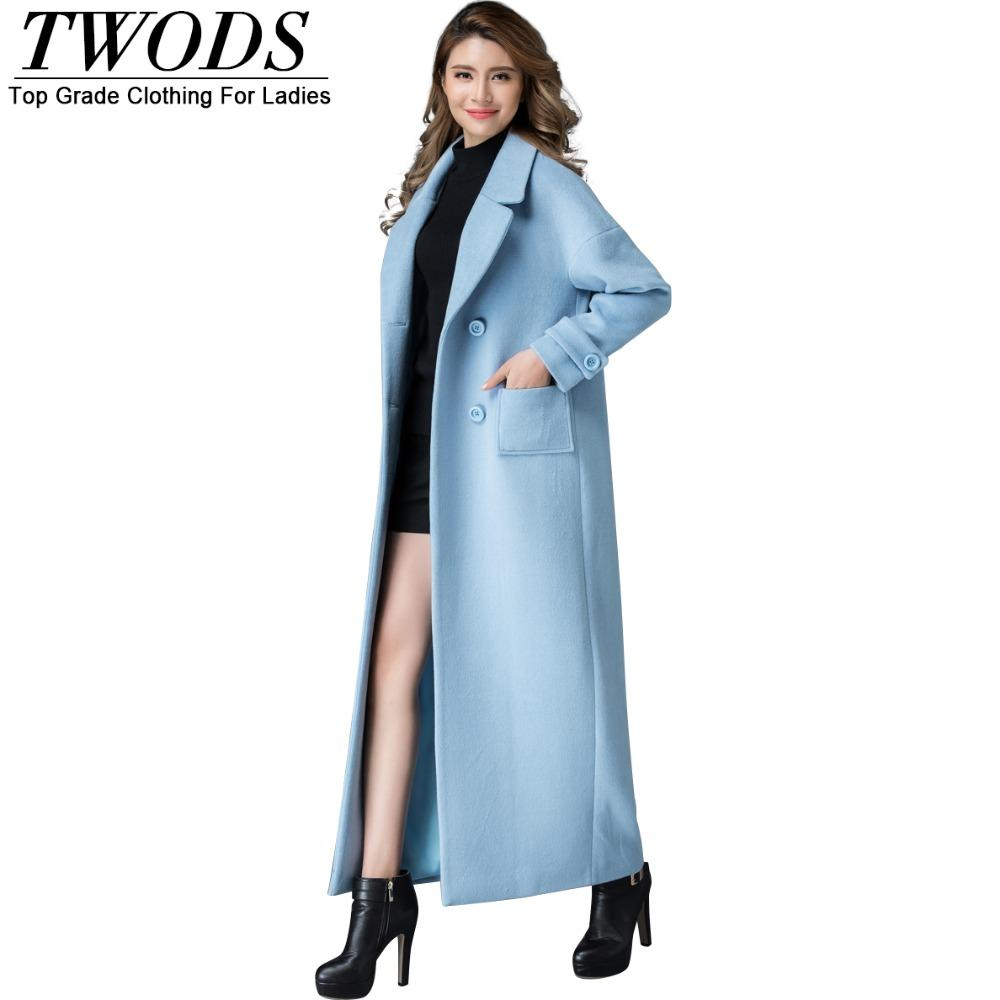 Images of Light Blue Wool Coat - Reikian