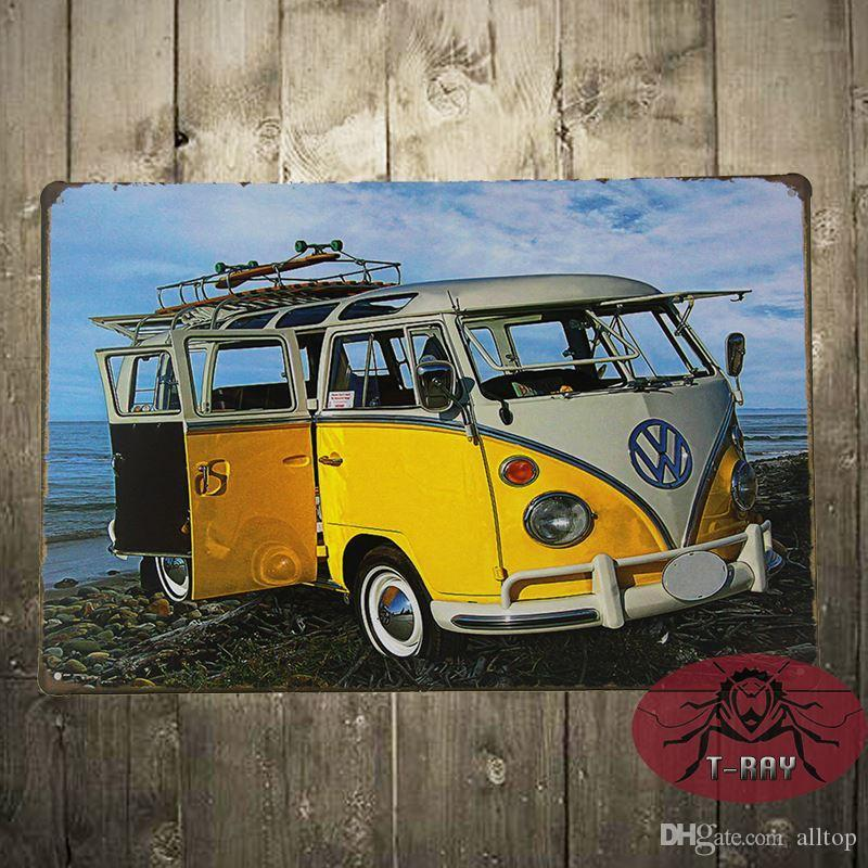 2017 tin sign classic vw bus painting metal decor wall art for Garage volkswagen 33