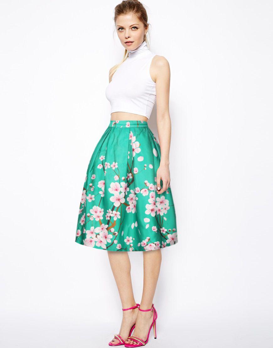 2017 2016 Summer Autumn Women Skirt Vintage Peach Blossom ...