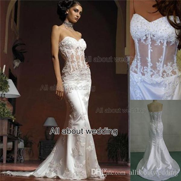 Mermaid wedding dresses strapless see through corset with for Wedding dress with see through lace bodice
