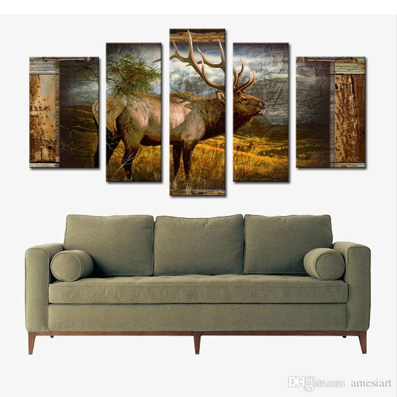Deer Wall Art 5 panel wall art deer buck in jungle painting the picture print on