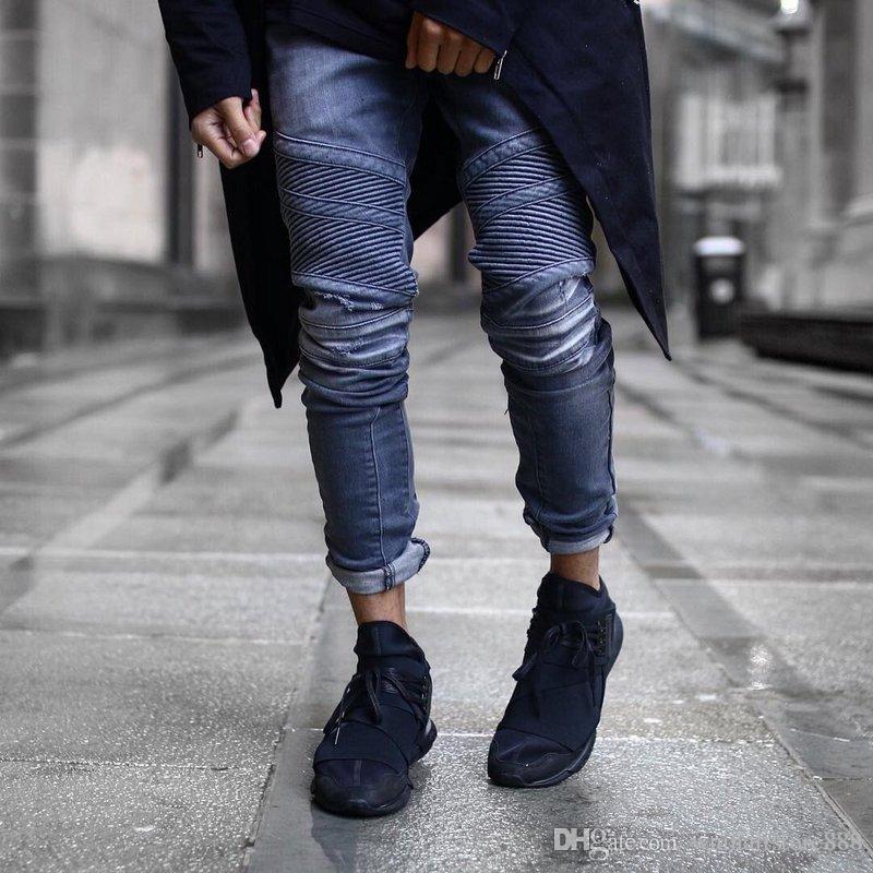 2017 Vintage Ripped Denim Jeans Mens Skinny Striped Biker Jeans ...