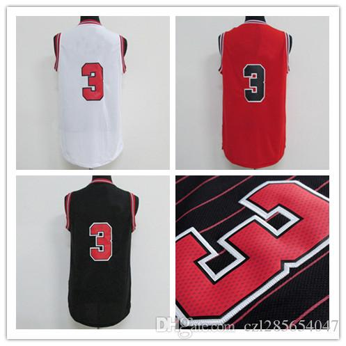 Wholesale Dw basketball jerseys Home Swingman Stitched #3 Red Replica Jersey Embroidery logo number name Size 44--56 accept mix order